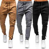 Mens Tactical Cargo Pants Military Slim Fit Hiking Sports Casual Jogger Trousers