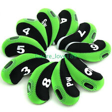 10pcs/set Neoprene Golf Club Iron Head Cover Headcovers For Callaway-BLACK&Green