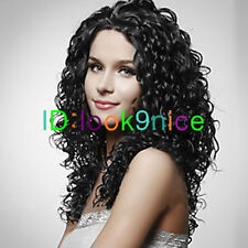 New Ladies sexy Long Synthetic Curly Black Hair Wig women Wavy wigs + wig cap