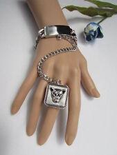 Hot Women Bracelet Fashion Silver Metal Hand Chain Tiger Head Slave Ring Leopard