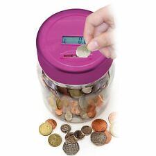 Pink Digital LCD Display Money Counter Saving Piggy Bank Coin Jar Box Holder
