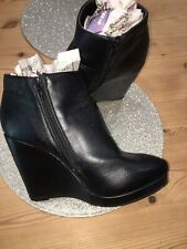 Matalan Black Wedge Ankle Boot Size 7