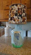 Folk Art Table Lamp (Pug [Hand-Sketched & Painted] & Cotton Print Dogs Shade)
