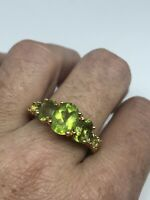 Vintage Golden Peridot Ring 925 Sterling Silver Size 9