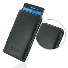 Pdair Leather Vertical Pouch Case Carry Cover for Sony Xperia Z3 - Black