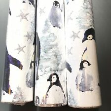 "x3 Punch Studio Penguin Glitter Christmas Wrapping Paper Gift Wrap Rolls 30"" NEW"