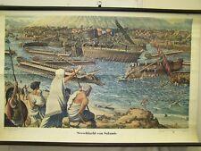 Antiguo Pizarra de enseñanza Batalla naval de Salamis,Vintage,DECORACIÓN,
