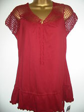BNWT NEXT Dark Red Brown Crochet Sleeve Short Sleeved Top Size 10