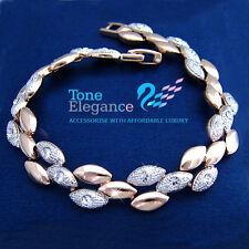 18k white rose gold GF solid bracelet bangle w/ swarovski elements crystal