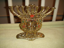 Superb Wainberg Israel Menorah Candlestick Holder-Gilded-Open Door Front-WOW
