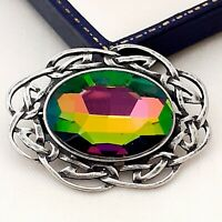 Vintage Style - Watermelon Rainbow Glass Stone Pewter Celtic Scottish Brooch Pin