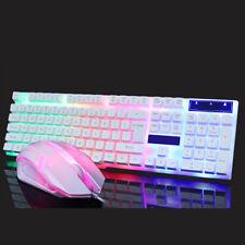 Computer Desktop Gaming Keyboard and Mouse Mechanical Feel Led Light Backlit RGB