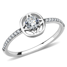 Ladies cz ring solitaire accents stainless steel silver pretty elegant new 238
