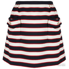 Valentino Navy Blue Red Ivory White Nautical Stripe A-Line Mini Skirt IT44 UK12