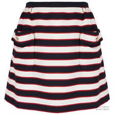 Valentino Navy Blue Red Ivory White Nautical Stripe A-Line Mini Skirt IT44 UK12