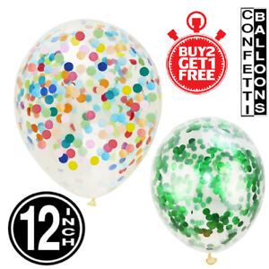 """100 Large 12"""" Confetti Filled Balloons ALL COLOURS Birthday Party Decorations UK"""