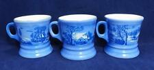 Set of Three Currier & Ives Coffee Mugs Cups Cobalt Blue Homestead Winter VGUC