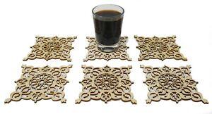 6er Set Marokkanische Untersetzer Bierdeckel Holz Lasercut Orient