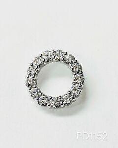1.12 Carats Round Diamond Women's Circle of Love Pendant Necklace 14k White Gold