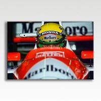 "Ayrton Senna F1 Car Helmet Canvas Poster Picture Print Photo Wall Art 30"" x 20"""