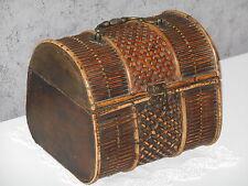 19th Century French Jewelry box / basket - Wood, rattan, wicker & bronze made