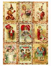 9 Valentine Vintage Hang Tags Paper Crafts Scrapbooking (216)