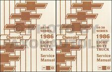 1986 Chevy Truck Repair Shop Manual CK Pickup G Van K5 Blazer Suburban Chevrolet