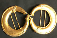 Pre-Colombian replica belt buckle, 24 kt. gold plated pewter, flat circle design