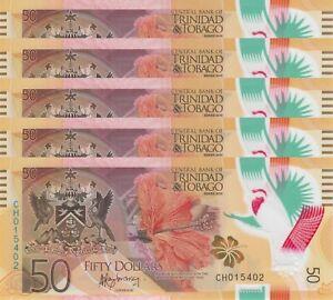 LOT, Trinidad and Tobago 50 Dollars (2015) p59 Polymer x 5 PCS UNC