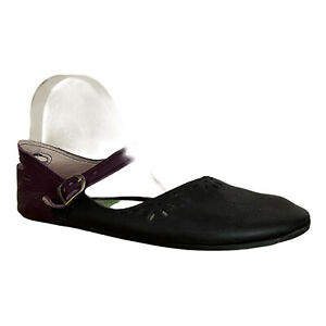 Soft Star Shoes Women's Mary Janes Sz 7 Black Purple Leather Flats USA Made