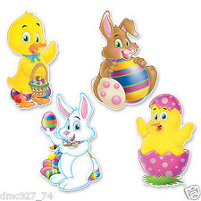 """4 EASTER Spring Party Decoration Die Cut Character Bunny Chick Duck Cutouts 14"""""""