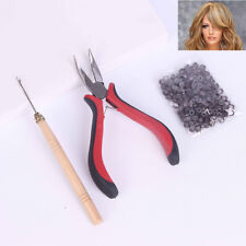 200 Silicone Micro Rings Beads Feather Hair Extension Complete Tool Kit Hook