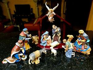 Large Signature Kirkland 12 Piece Porcelain Christmas Nativity Set Wooden Creche