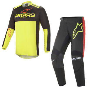 Alpinestars 2021 Adult Fluid Tripple Black Yellow Red Motocross MX Kit Combo