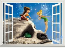 Tinkerbell Fairy Neverbeast 3D Window Wall Decals Removable Stickers Kids Decor