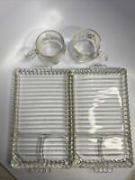 2 Vintage Hazel Atlas Orchard Sip & Smoke Glass Luncheon Plate Sushi Plate/ Cups