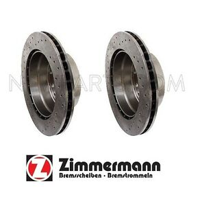 For Porsche 911 Pair Set of 2 Rear Cross Drilled Vented Rotors Zimmermann Sport