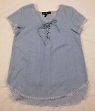 Derek Heart Womens Shirt Size S Blue Frayed Hem Short Sleeve Tie Front Neck