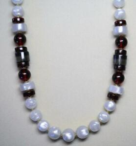"""JOAN RIVERS GOLD EP WHITE OPALINE RED & GRAY RESIN BEAD NECKLACE 31"""" LONG NEW"""