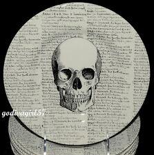 Royal Stafford * 8 SALAD PLATES * Halloween Skull & Script, England, NEW