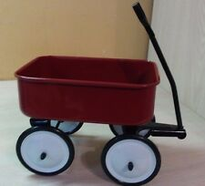 "Little Red Wagon Metal Wheels Move Turn Around Metal Handle 6"" long"