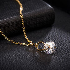 Fashion Womens Round CZ 24K Gold Filled Pendant Long Necklace Lot