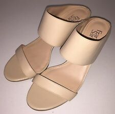 Franco Sarto Oliana Double Strap Nude Leather Heels Mule Sandals Womens Size 9 M