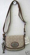 Fossil Maddox Small Flap Fabric Tan Signature Crossbody ZB4955231 NWT