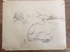 Original 1947 mid century sleeping Nude Sketch female signed H BLETCHER