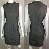 NWT $149 Talbots Women's 8 Petite Gray Sleeveless Linen Sheath Shift Dress 8P