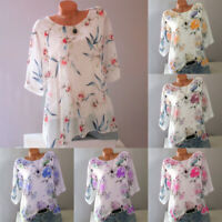 Women Summer Crew Neck Short Sleeve Tops Loose Blouse Floral Casual T-shirt Plus