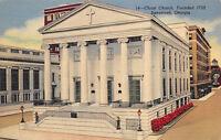 Savannah Georgia 1940s Linen Postcard Christ Church Building
