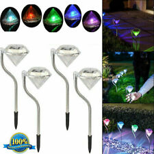 Outdoor Stainless Steel LED Solar Power Light Diamond Garden Yard Landscap Lamp
