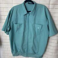 Vtg 70s JOHN BLAIR Leisure Shirt full zip Boogie Nights Disco banded bottom XL